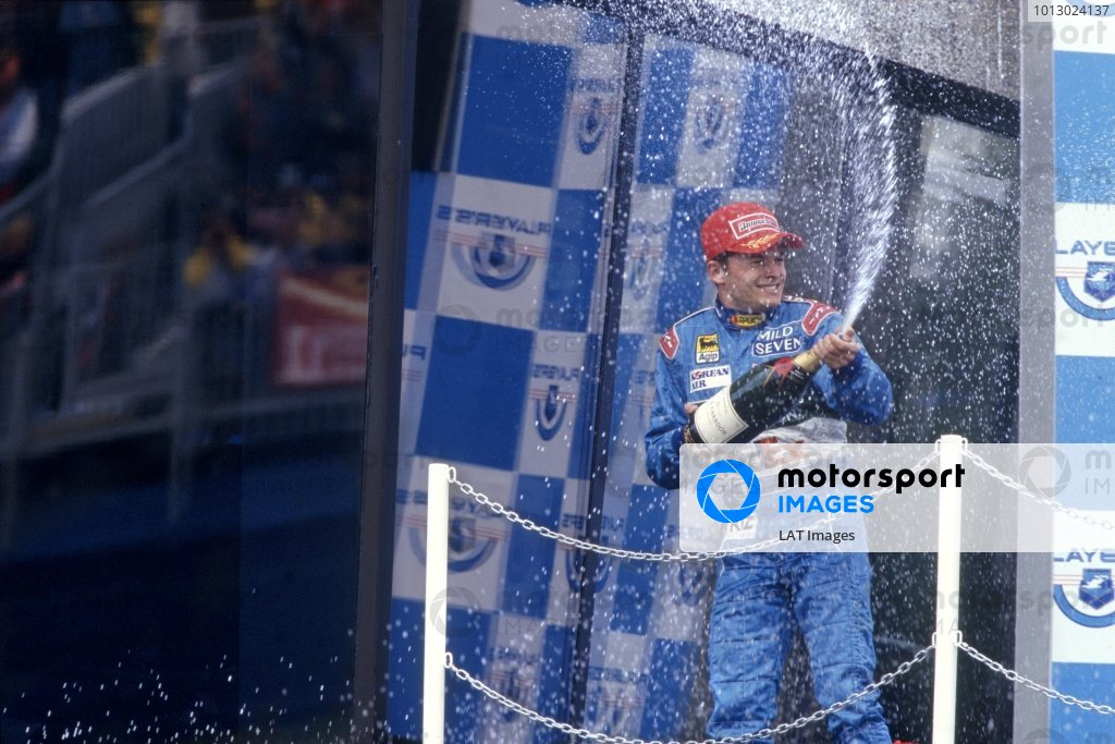 1998 Canadian Grand Prix.Montreal, Canada. 7 June 1998.Giancarlo Fisichella, Benetton B198-Mecachrome, 2nd position, podium.World Copyright: LAT PhotographicRef: 35mm transparency