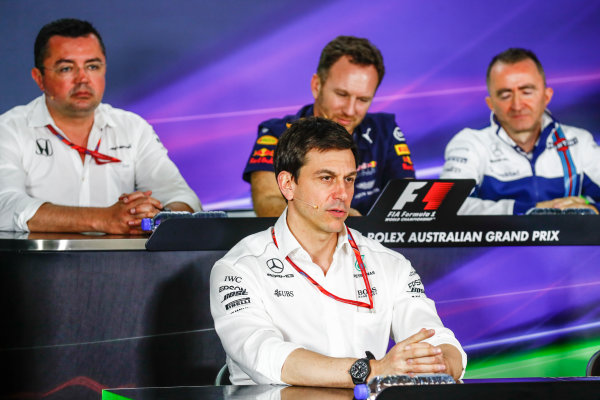 Albert Park, Melbourne, Australia. Friday 24 March 2017. Eric Boullier, Racing Director, McLaren, Toto Wolff, Executive Director (Business), Mercedes AMG, Christian Horner, Team Principal, Red Bull Racing, and Paddy Lowe, Williams Martini Racing Formula 1, in the Team Principals Press Conference. World Copyright: Sam Bloxham/LAT Images ref: Digital Image _J6I1835
