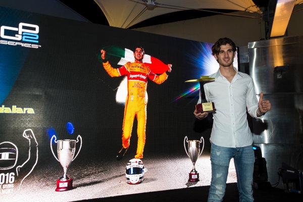 2016 GP2/3 Awards Evening. Yas Marina Circuit, Abu Dhabi, United Arab Emirates. Sunday 27 November 2016. Antonio Giovinazzi (ITA, PREMA Racing)  Photo: Sam Bloxham/GP2 Series Media Service/GP3 Series Media Service. ref: Digital Image _SLA9825