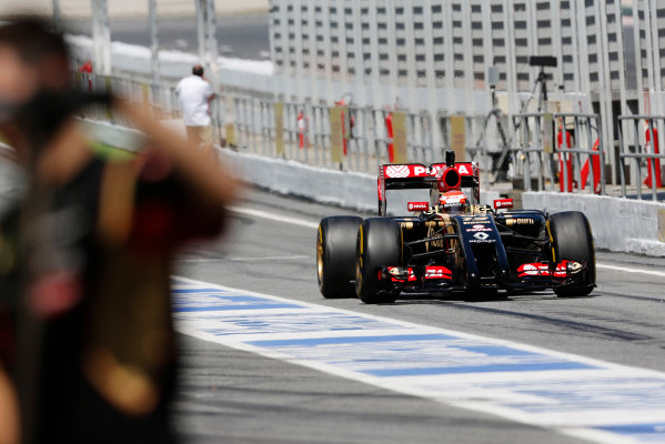 Circuit de Catalunya, Barcelona, Spain. Wednesday 14 May 2014. Pastor Maldonado, Lotus E22 Renault. World Copyright: Sam Bloxham/LAT Photographic. ref: Digital Image _SBL0374