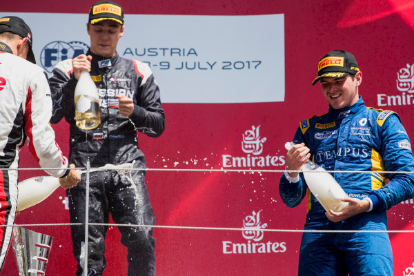 2017 FIA Formula 2 Round 5. Red Bull Ring, Spielberg, Austria. Sunday 9 July 2017. Alexander Albon (THA, ART Grand Prix), Artem Markelov (RUS, RUSSIAN TIME) and Oliver Rowland (GBR, DAMS).  Photo: Zak Mauger/FIA Formula 2. ref: Digital Image _54I0398