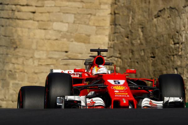 Baku City Circuit, Baku, Azerbaijan. Friday 23 June 2017. Sebastian Vettel, Ferrari SF70H. World Copyright: Steven Tee/LAT Images ref: Digital Image _O3I1203