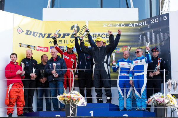 2015 Silverstone Dunlop Britcar 24 Hour. Silverstone, Northamptonshire. 24th - 26th April 2015. Podium. Class 4. First, #50 - Karel Gijs Bessem (NL)/Harry Hilders (NL)/Roger Grouwels (NL) - Bas Koeten Racing, Seat Leon Cup Racer, Second, #33 - Nick Barrow (GB)/Tom Barrow (GB)/Clint Bardwell (GB)/Richard Corbett (GB) - Saxon Motorsport, GT4, BMW 135d, Third, #58 - Dave Cox (GB)/Jason Cox (GB)/Michael Cox (GB) - WEC Motorsport 1, BMW M3. World Copyright: Zak Mauger/LAT Photographic. ref: Digital Image _L0U1433