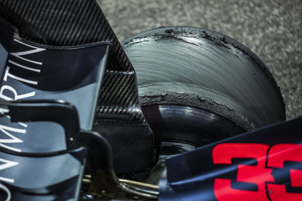 The car of Max Verstappen, Red Bull Racing RB15, 2nd position, in Parc Ferme