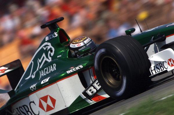 2001 German Grand Prix - PracticeHockenheim, Germany. 27th July 2001.Eddie Irvine, Jaguar R2, action.World Copyright: Steve Etherington/LAT Photographic.ref: 16mb Digital Image