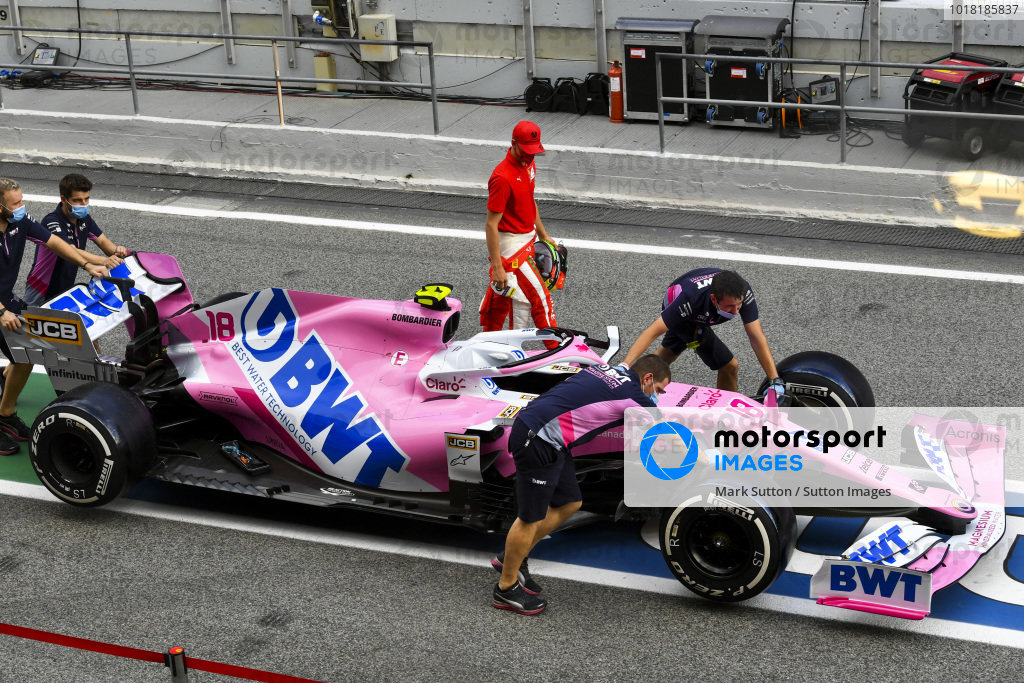 Mick Schumacher (DEU, PREMA RACING) looking at the car of Lance Stroll, Racing Point RP20
