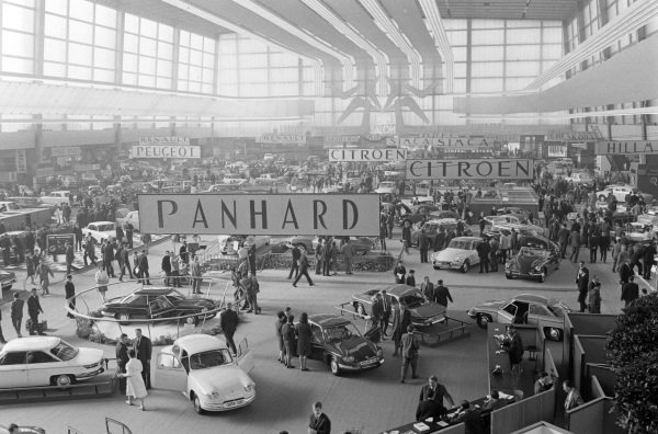 View across the show hall with the Panhard and Citroen stands in the foreground.