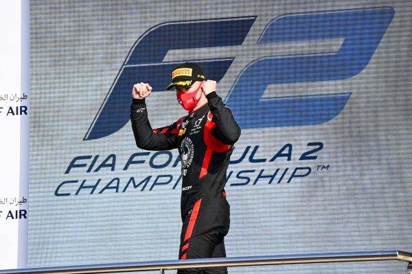 Nikita Mazepin (RUS, HITECH GRAND PRIX) celebrate on the podium