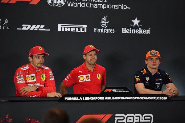 Charles Leclerc, Ferrari, Race winner Sebastian Vettel, Ferrari and Max Verstappen, Red Bull Racing in the Press Conference