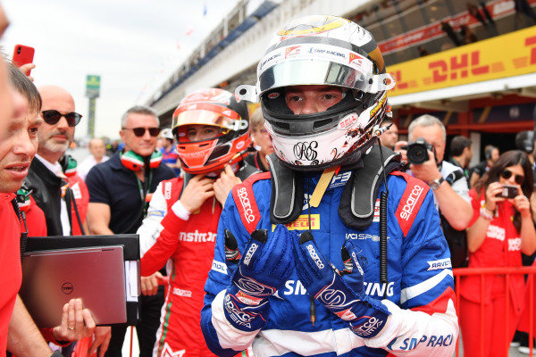 Robert Shwartzman (RUS) PREMA Racing, celebrates in Parc Ferme