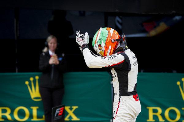 Race Winner Leonardo Pulcini (ITA) Hitech Grand Prix celebrates in parc ferme