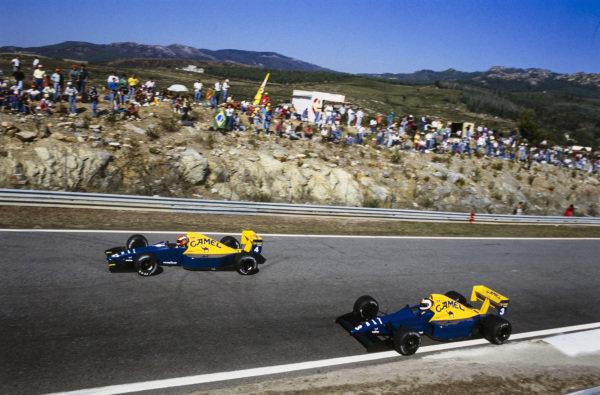 Johnny Herbert, Tyrrell 018 Ford, leads Jonathan Palmer, Tyrrell 018 Ford.