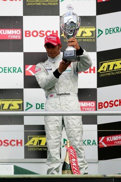 Podium, Lewis Hamilton (GBR), Manor Motorsport, Dallara F3-02 Mercedes (3rd). F3 Euro Series 2004, Rd 19&20, Hockenheimring. 02 October 2004. DIGITAL IMAGE