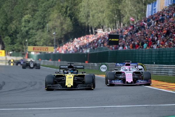 Daniel Ricciardo, Renault R.S.19, leads Sergio Perez, Racing Point RP19