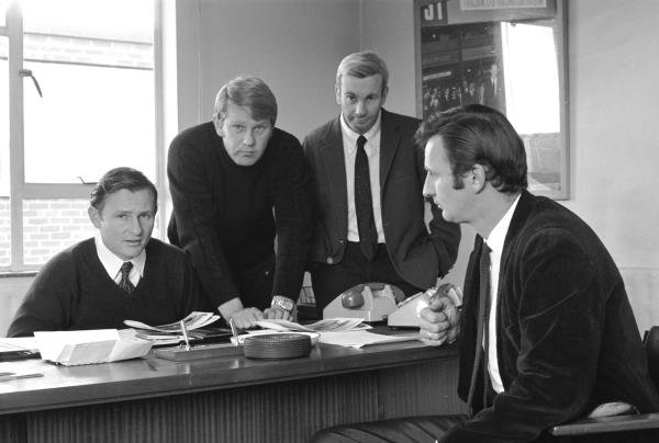 Mclaren Directors, L to R: Bruce Mclaren (NZL), Tyler Alexander (USA), Teddy Mayer (USA) and Phil Kerr (NZL) Mclaren Factory, Colnbrook, England 1970
