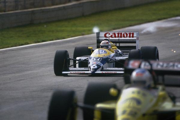 Jerez, Spain. 25th - 27th September 1987.Nelson Piquet (Williams FW11B Honda), 4th position, action. World Copyright: LAT Photographic.Ref:  87ESP02.