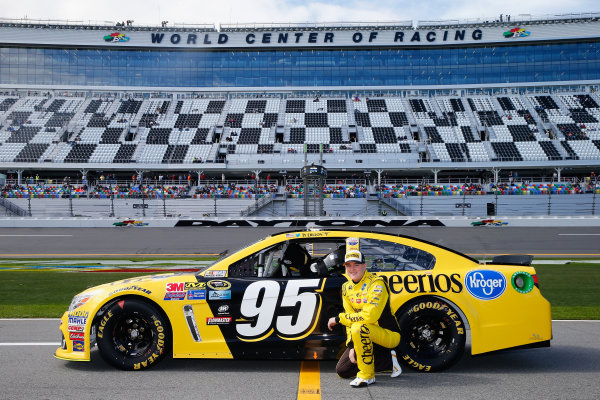 13-21 February, 2016, Daytona Beach, Florida USA   Ty Dillon, driver of the #95 Cheerios Chevrolet, poses with his car after qualifying for the NASCAR Sprint Cup Series Daytona 500 at Daytona International Speedway on February 14, 2016 in Daytona Beach, Florida.   LAT Photo USA via NASCAR via Getty Images