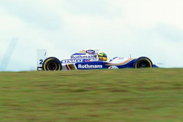 1994 Brazilian Grand Prix. Interlagos, Sao Paulo, Brazil. 25-27 March 1994. Ayrton Senna (Williams FW16 Renault). Ref-94BRA14. World Copyright - LAT Photographic