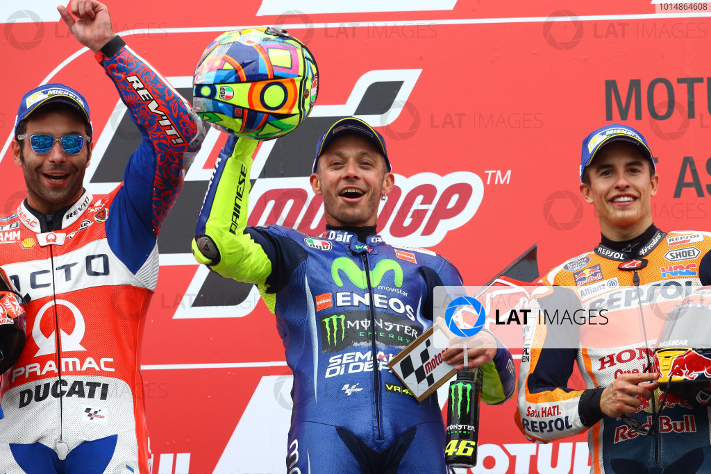 2017 MotoGP Championship - Round 8 Assen, Netherlands Sunday 25 June 2017 Podium: second place Danilo Petrucci, Pramac Racing, Race winner Valentino Rossi, Yamaha Factory Racing, third place Marc Marquez, Repsol Honda Team World Copyright: David Goldman/LAT Images ref: Digital Image 680161