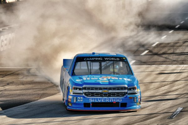 NASCAR Camping World Truck Series Alpha Energy Solutions 250 Martinsville Speedway, Martinsville, VA USA Saturday 1 April 2017 Chase Elliott celebrates his victory World Copyright: Scott R LePage/LAT Images ref: Digital Image lepage-170401-mv-3093s