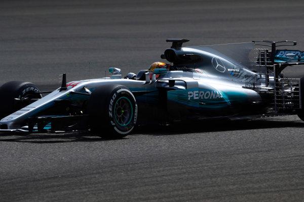 Bahrain International Circuit, Sakhir, Bahrain.  Tuesday 18 April 2017. Lewis Hamilton, Mercedes F1 W08 EQ Power+. World Copyright: Glenn Dunbar/LAT Images ref: Digital Image _X4I2047
