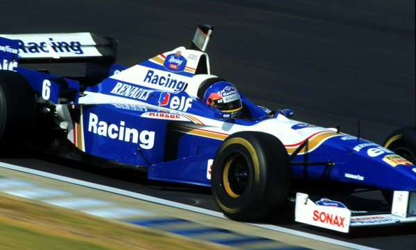 Silverstone, England.12-14 July 1996.Jacques Villeneuve (Williams FW18 Renault) 1st position, action.World Copyright - LAT Photographic