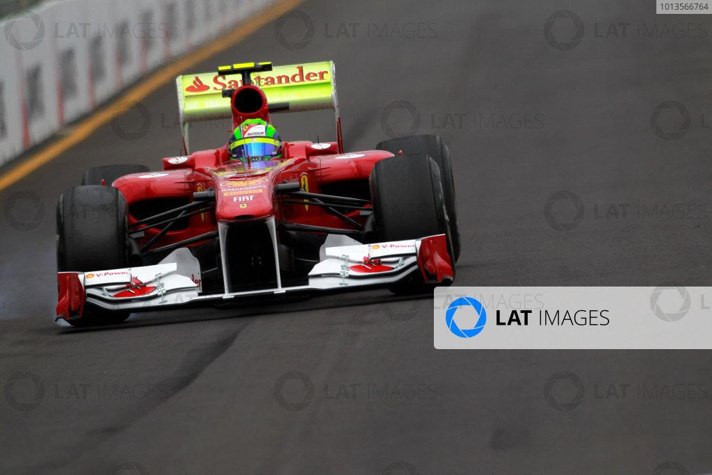 Albert Park, Melbourne, Australia 25th March 2011. Felipe Massa, Ferrari 150° Italia, and a rear wing covered in flourescent paint. Action.  World Copyright: Charles Coates/LAT Photographic ref: Digital Image _X5J8610