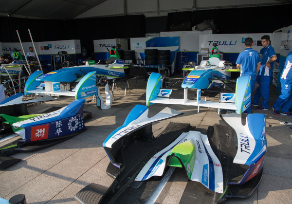 FIA Formula E Championship 2015/16. Beijing ePrix, Beijing, China. Team Trulli cars sit untouched in the garage for the Friday sessions  Beijing, China, Asia. Friday 23 October 2015 Photo:  / LAT / FE ref: Digital Image _L1_3303