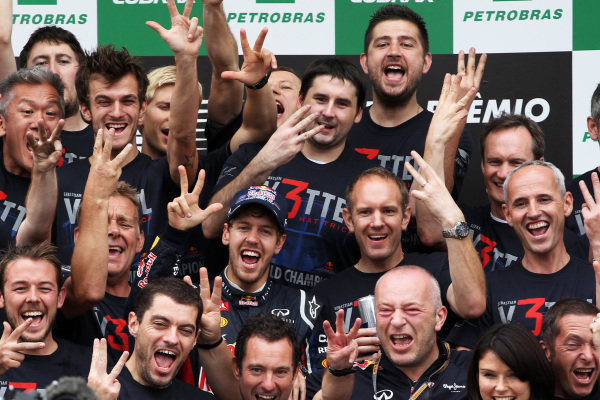 World Champion Sebastian Vettel (GER) Red Bull Racing celebrates with the team. Formula One World Championship, Rd20 Brazilian Grand Prix, Race, Sao Paulo, Brazil, 25 November 2012.   BEST IMAGE
