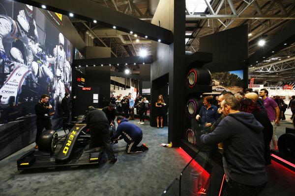 Autosport International Exhibition. National Exhibition Centre, Birmingham, UK. Saturday 13th January, 2018. The Pirelli stand.World Copyright: James Roberts/JEP/LAT Images Ref: JR2_5209