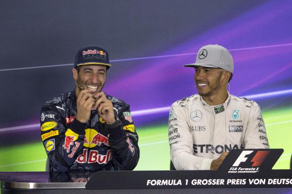 Daniel Ricciardo (AUS) Red Bull Racing and Lewis Hamilton (GBR) Mercedes AMG F1 in the Press Conference at Formula One World Championship, Rd12, German Grand Prix, Race, Hockenheim, Germany, Sunday 31 July 2016.