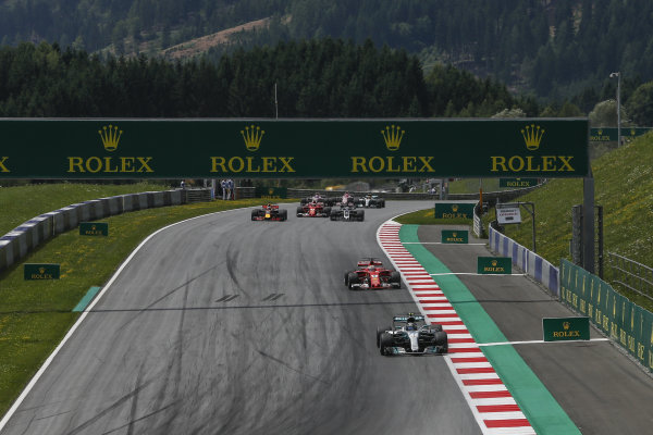 Valtteri Bottas (FIN) Mercedes-Benz F1 W08 Hybrid leads at the start of the race at Formula One World Championship, Rd9, Austrian Grand Prix, Race, Spielberg, Austria, Sunday 9 July 2017.
