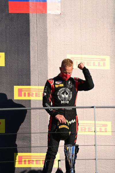 Nikita Mazepin (RUS, HITECH GRAND PRIX), celebrates on the podium