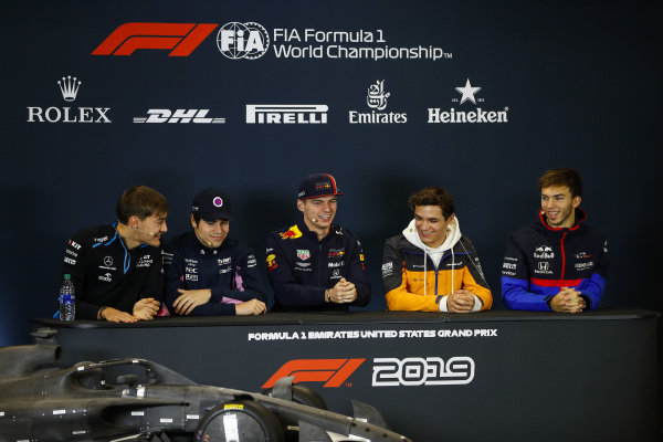 The Thursday press conference. L-R: George Russell, Williams Racing, Lance Stroll, Racing Point, Max Verstappen, Red Bull Racing, Lando Norris, McLaren and Pierre Gasly, Toro Rosso