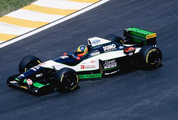 1996 Brazilian Grand Prix.Interlagos, Sao Paulo, Brazil. 29-31 March 1996.Tarso Marques (Minardi M195B Ford).Ref-96 BRA 26.World Copyright - Martyn Elford/LAT Photographic