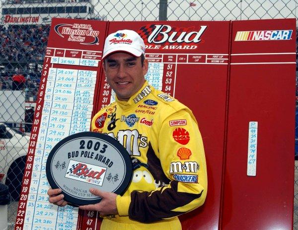 2003 NASCAR Darlington 400,March 14-16 2003Elliott Sadler poses with his Bud pole hardware,World Copyright-RobtLeSieur2003LAT Photographic