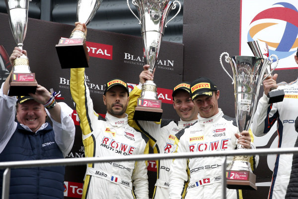 Podium: second place #998 ROWE Racing Porsche 911 GT3 R: Frédéric Makowiecki, Patrick Pilet, Nick Tandy.