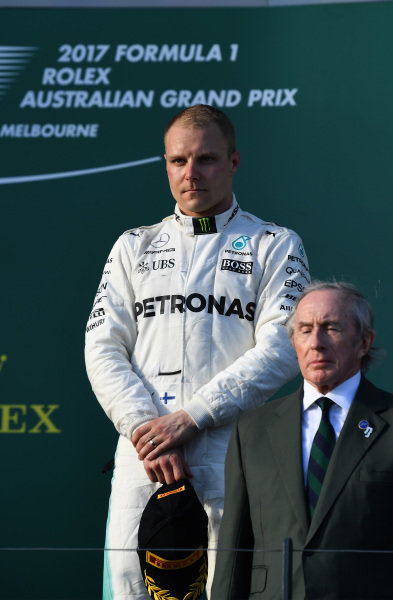 Valtteri Bottas (FIN) Mercedes AMG F1 on the podium at Formula One World Championship, Rd1, Australian Grand Prix, Race, Albert Park, Melbourne, Australia, Sunday 26 March 2017.