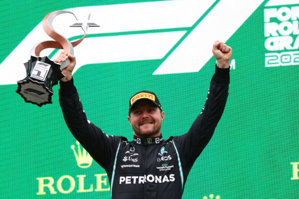 Valtteri Bottas, Mercedes, 1st position, with his trophy