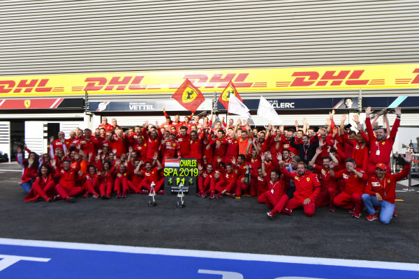 Charles Leclerc, Ferrari, celebrates with his tea, including Mattia Binotto, Team Principal Ferrari and Laurent Mekies, Sporting Director, Ferrari
