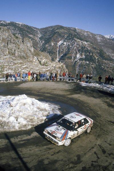1987 World Rally Championship.Monte Carlo Rally, Monaco. 17-22 January 1987.Miki Biasion/Tiziano Siviero (Lancia Delta HF 4WD), 1st position.World Copyright: LAT PhotographicRef: 35mm transparency 87RALLY01