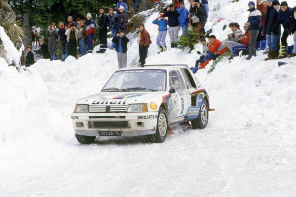 1985 World Rally Championship.Monte Carlo Rally, Monaco. 26 January -1 February 1985.Timo Salonen/Seppo Harjanne (Peugeot 205 Turbo 16), 3rd position.World Copyright: LAT PhotographicRef: 35mm transparency 85RALLY11