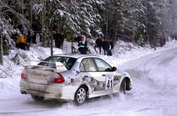 2001 World Rally Championship.   Swedish Rally. 9th - 11th February 2001. Rd 2. Natalie Barratt on stage ten. World Copyright: Ralph Hardwick/ LAT Photographic. Ref: Barrett4