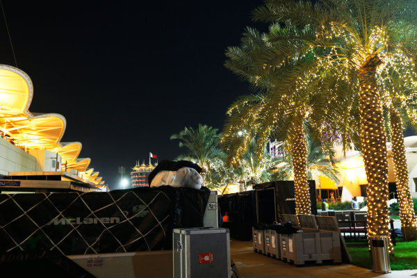 Bahrain International Circuit, Sakhir, Bahrain. Sunday 19 April 2015. The paddock is packed away after the race. World Copyright: Alastair Staley/LAT Photographic. ref: Digital Image _79P9267