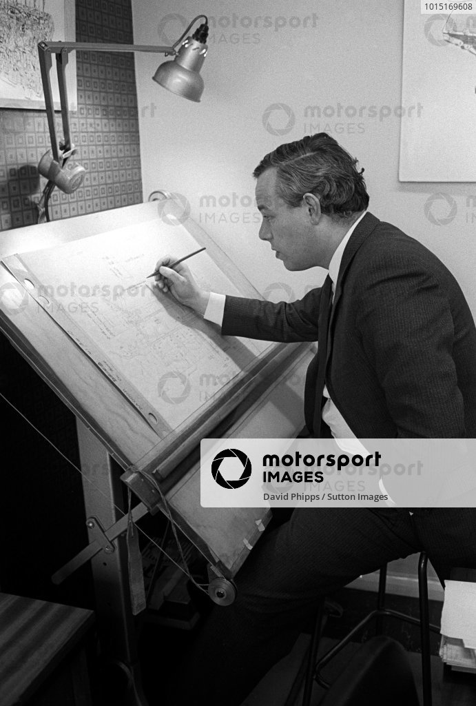Keith Duckworth (GBR) designer of the Ford Cosworth DFV engine, the most successful engineer ever designed for Formula One. Formula One World Championship, Cosworth Headquarters, St James Mill Road, Northampton, England, 1969.