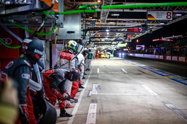 2016 Le Mans 24 Hours. Circuit de la Sarthe, Le Mans, France. Audi Sport Team Joest / Audi R18 - Lucas Di Grassi (BRA), Loic Duval (FRA), Oliver Jarvis (GBR).  Photo: Adam Warner / LAT ref: Digital Image _L5R6221