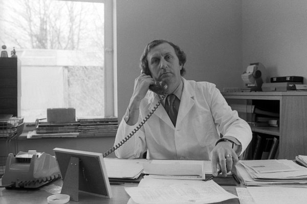 Derek Gardner (GBR) Tyrrell Designer takes a telephone call at his desk at the Tyrrell headquarters.