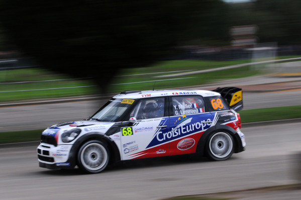 Yvan Muller (FRA) and Guy Leneveu (FRA), Mini JCW WRC on the shakedown stage. FIA World Rally Championship, Rd11, Rallye De France, Strasbourg, Alsace, France, Shakedown, Thursday 4 October 2012.