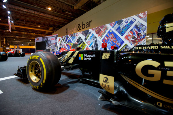 Autosport International Exhibition.  National Exhibition Centre, Birmingham, UK. Thursday 14 January 2016.  Lotus F1 car on the F1 Racing stand. World Copyright: Sam Bloxham/LAT Photographic. ref: Digital Image _SBL5339
