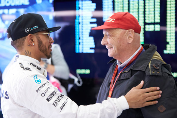 Albert Park, Melbourne, Australia. Friday 18 March 2016. Lewis Hamilton, Mercedes AMG, with Niki Lauda, Non-Executive Chairman, Mercedes AMG. World Copyright: Steve Etherington/LAT Photographic ref: Digital Image SNE11068
